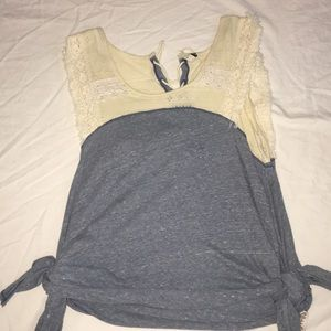 Blue and Cream Free People Festival Top